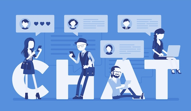 Chat letters and friends communication with smartphone and laptop. group of people take part in discussion, exchange message online, sending photo on internet. vector illustration, faceless characters