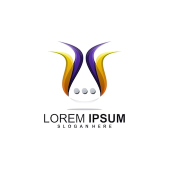 Chat logo design premium