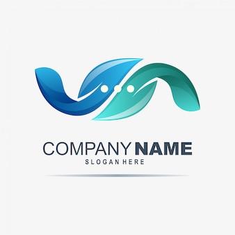 Chat logo design with leaf