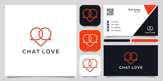 채팅 사랑 로고 아이콘 기호 템플릿 로고 및 명함