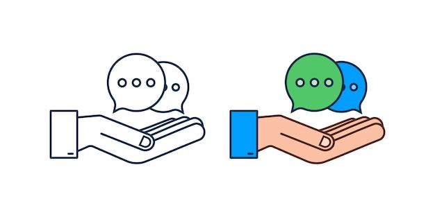 Значок пузырей сообщения чата висит над руками на белом фоне. векторная иллюстрация штока.