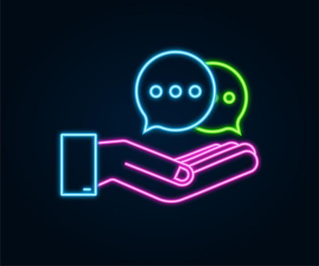Неоновый значок пузырей сообщения чата висит над руками на белом фоне. векторная иллюстрация штока.