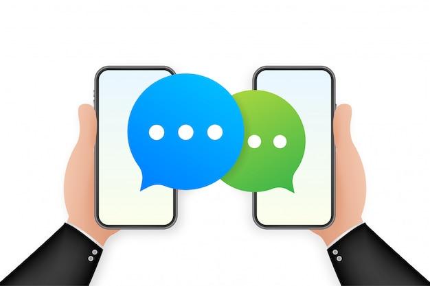 Чат сообщение пузыри на экране смартфона. социальная сеть. сообщения. иллюстрации.