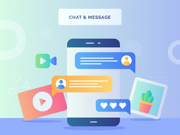 Chat message concept smart phone background of cactus plant picture camera video comment symbol with flat style