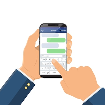 Chat message on the smartphone screen.