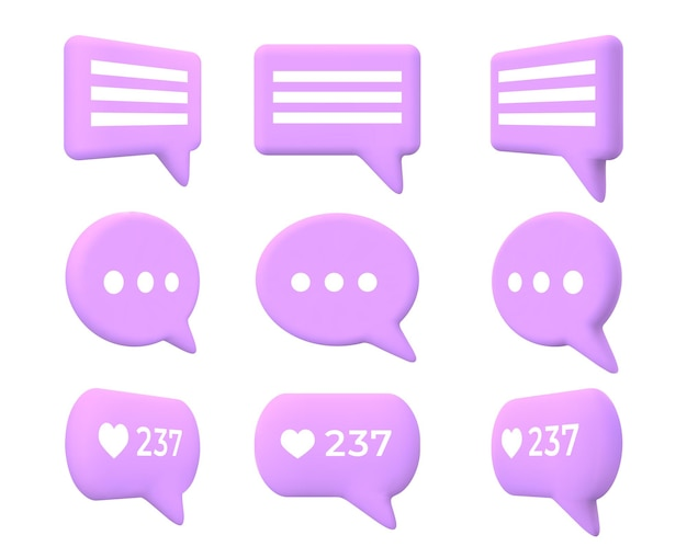 Chat or message speech bubble 3d turn animation. cartoon comment box icon with likes count for social media or talk messenger app vector set