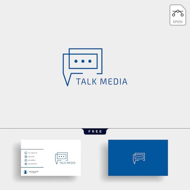 Шаблон логотипа чата, сообщения, речи, беседы с визитной карточкой