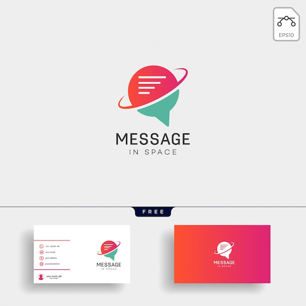 Chat, message, speech, conversation logo template with business card