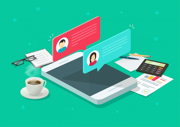 Chat messages notification on phone or cellphone and desktop table vector isometric cartoon