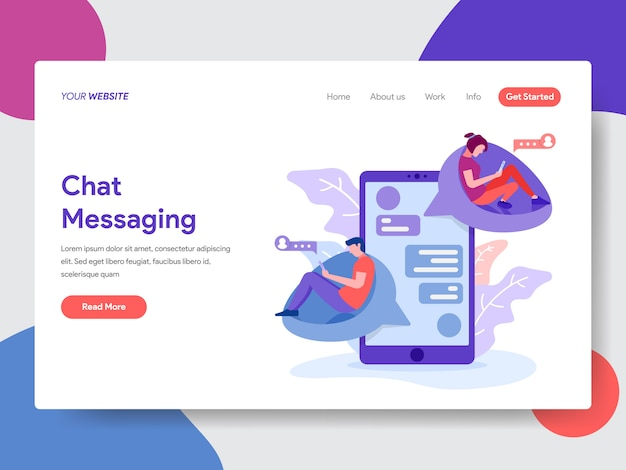 Chat messaging illustration for web page