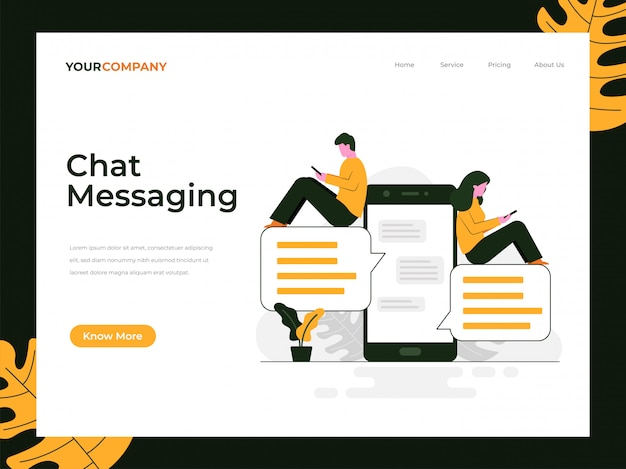 Chat messaging landing page