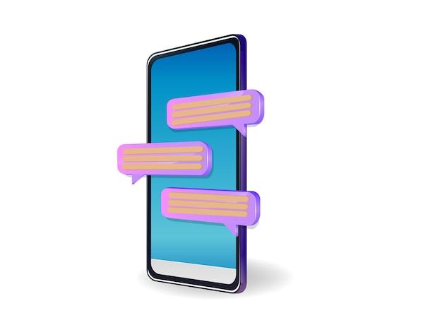 흰색에 고립 된 휴대 전화에 메시징 채팅