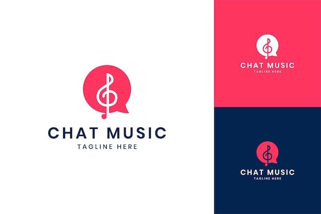 채팅 음악 부정적인 공간 로고 디자인