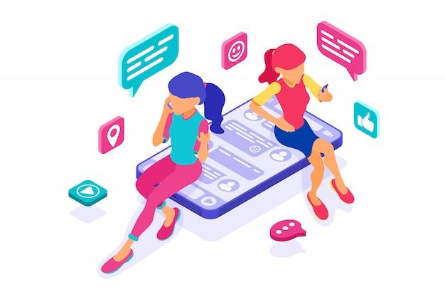 소셜 네트워크에서 온라인 데이트 우정 채팅