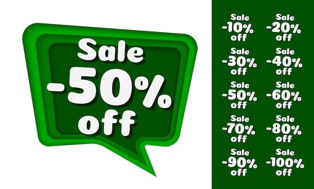 Слой бумаги для чата, зеленый цвет. сбор с процентной скидкой. белый фон. векторная иллюстрация