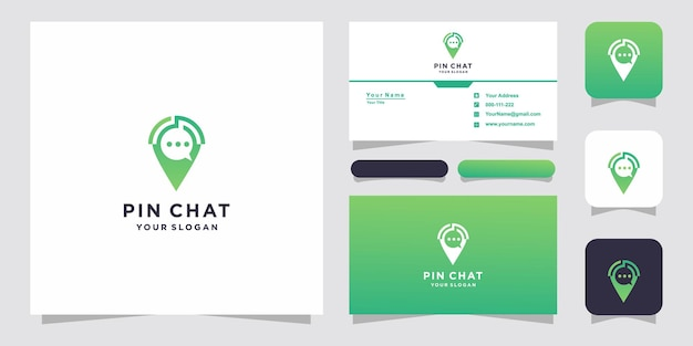 Chat pin or location chat logo design