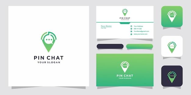 채팅 핀 또는 위치 채팅 로고 디자인