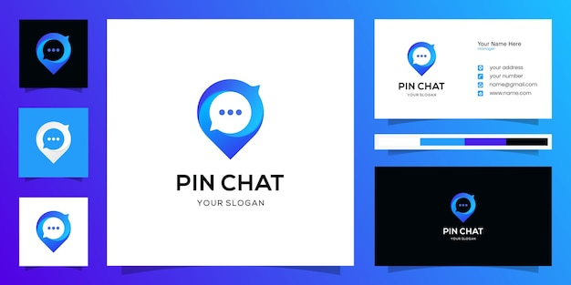 Chat place logo  design template with pin map and chat bubble and business card