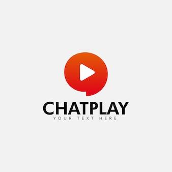 Chat play logo design template vector isolated