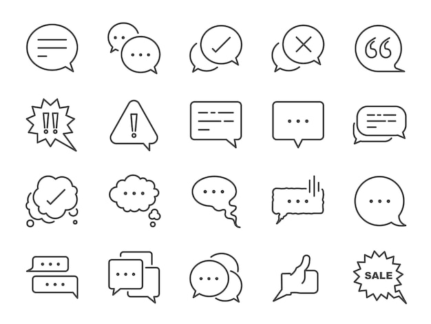 Chat and quote line icon set.