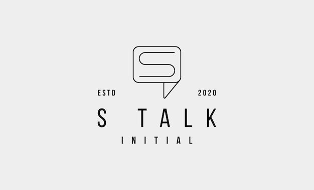 Chat s logo line design vector