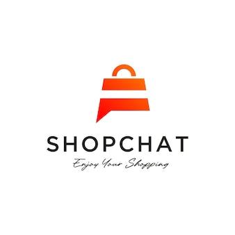 채팅 상점 로고 디자인 템플릿 쇼핑 로고 벡터 아이콘 일러스트 디자인