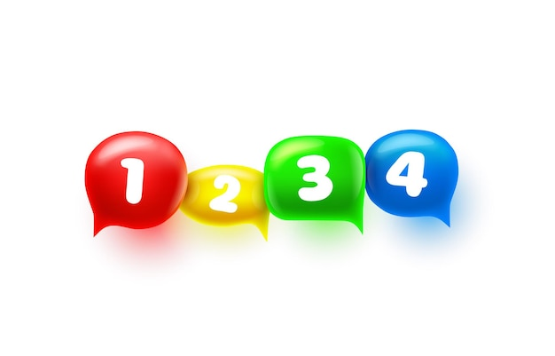Chat sign colored information numbers, design element