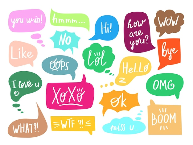 Chat speech bubble with phrase set isolated on white