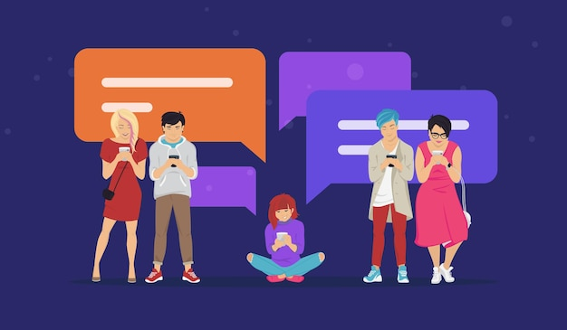 문자 메시지 통신 및 밈 평면 벡터 일러스트 공유를 위한 채팅 음성 거품