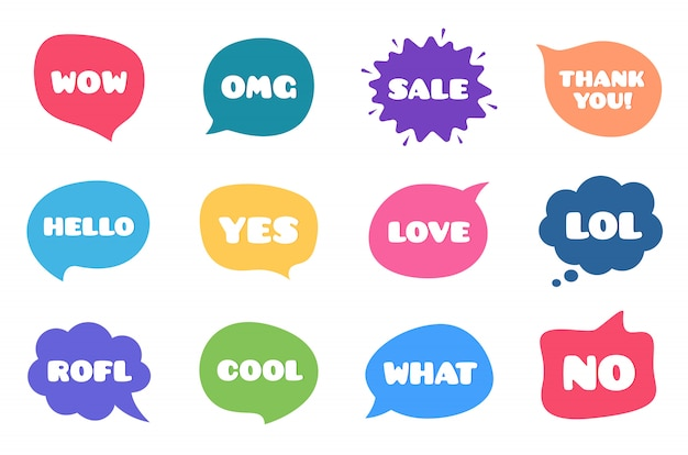 Chat speech bubbles with talk phrases.