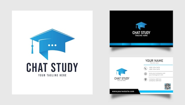 Chat study logo design and business card illustration