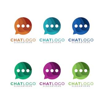 チャット、トークカラフルなロゴデザインセット