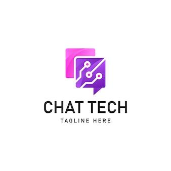 의사 소통 및 정보 공유의 개념을 가진 채팅 기술 로고 벡터 아이콘 그림