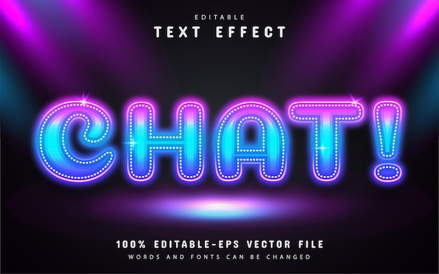 Chat text, neon style text effect editable
