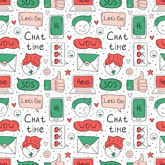 Chat time cartoon, doodle,  seamless pattern. speech bubble, message, emoji, letter, gadget. cute colorful design. isolated on white background.