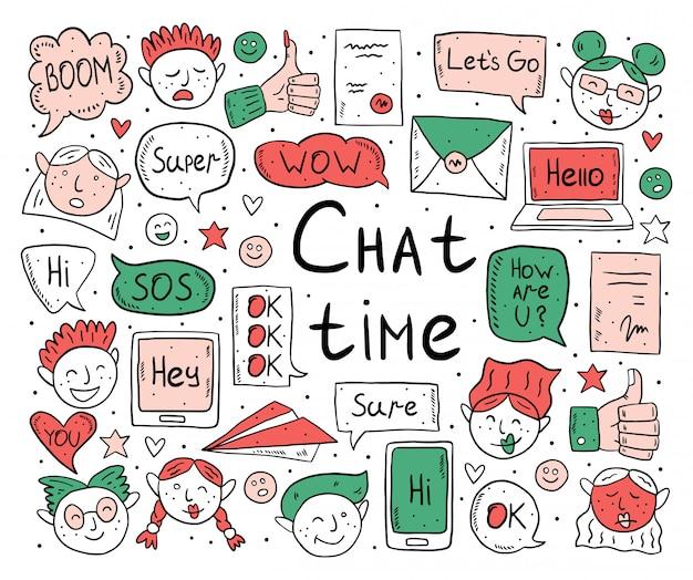 Шарж времени чата, doodle, vector безшовная картина, предпосылка, фон, текстура, назад. речи пузырь, сообщение, emoji, письмо, гаджет. симпатичный красочный дизайн. изолированные на белом фоне