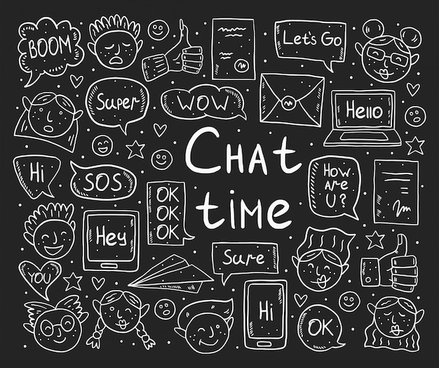 Chat time chalk drawing design, doodle. speech bubble, message, emoji, letter, gadget. white monochrome design. isolated on dark background.