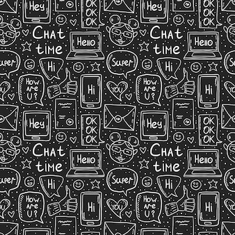 Chat time chalk drawing design, doodle, vector clip art, set of elements, seamless pattern, icons. speech bubble, message, emoji, letter, gadget. white monochrome design. isolated on dark background.