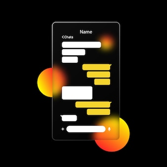 Окно чата. сообщение, концепция беседы. стиль глассморфизм. значок телефона. реалистичный эффект морфизма стекла с набором прозрачных стеклянных пластин. векторная иллюстрация.