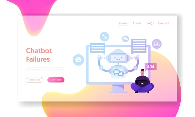 Chatbot, ai robot chatting with client landing page template.