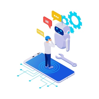 Chatbot application isometric icon with smartphone and character wearing virtual reality glasses