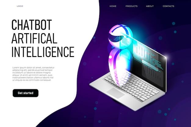Шаблон целевой страницы искусственного интеллекта чат-бота с летающим роботом и изомерическим ноутбуком.