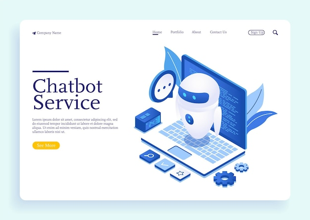 Chatbot or artificial intelligence network concept in isometric vector illustration