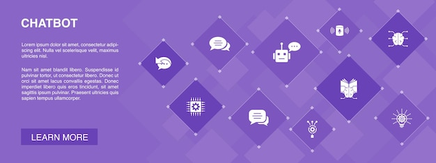 Chatbot  banner 10 icons concept.voice assistant, autoresponder, chat, technology  simple icons