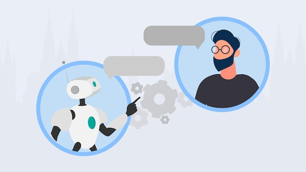 Баннер чат-бота. робот в диалоге с человеком. подходит для приложений, сайтов и тем, связанных с автоматическими ответами и искусственным интеллектом. вектор.