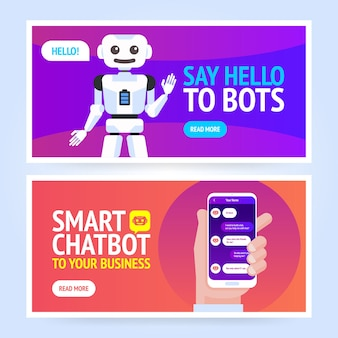 Chatbot banner concept. horizontal business banner template.