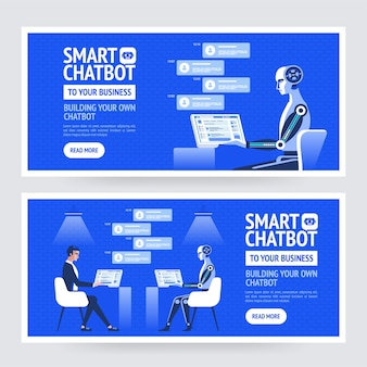 Chatbot business concept.  modern banner for the site, web, brochure cards,  flyear, magazines, book cover.