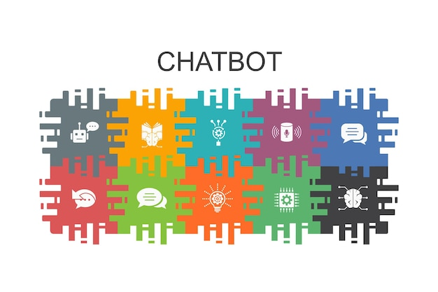Chatbot cartoon template with flat elements. contains such icons as voice assistant, autoresponder, chat, technology