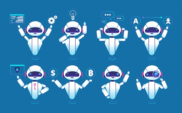 Chatbot character. cute robot online chat robot in different poses. chatterbot isolated set