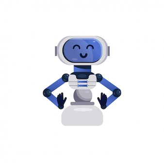 Chatbot character. friendly robot isolated. kids vector illustration in flat style. cheerful chatbot, smiling android toy. cute robot character, online bot assistant.